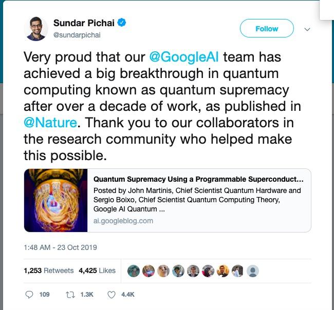 谷歌号称实现量子霸权,中国公司何时追上?